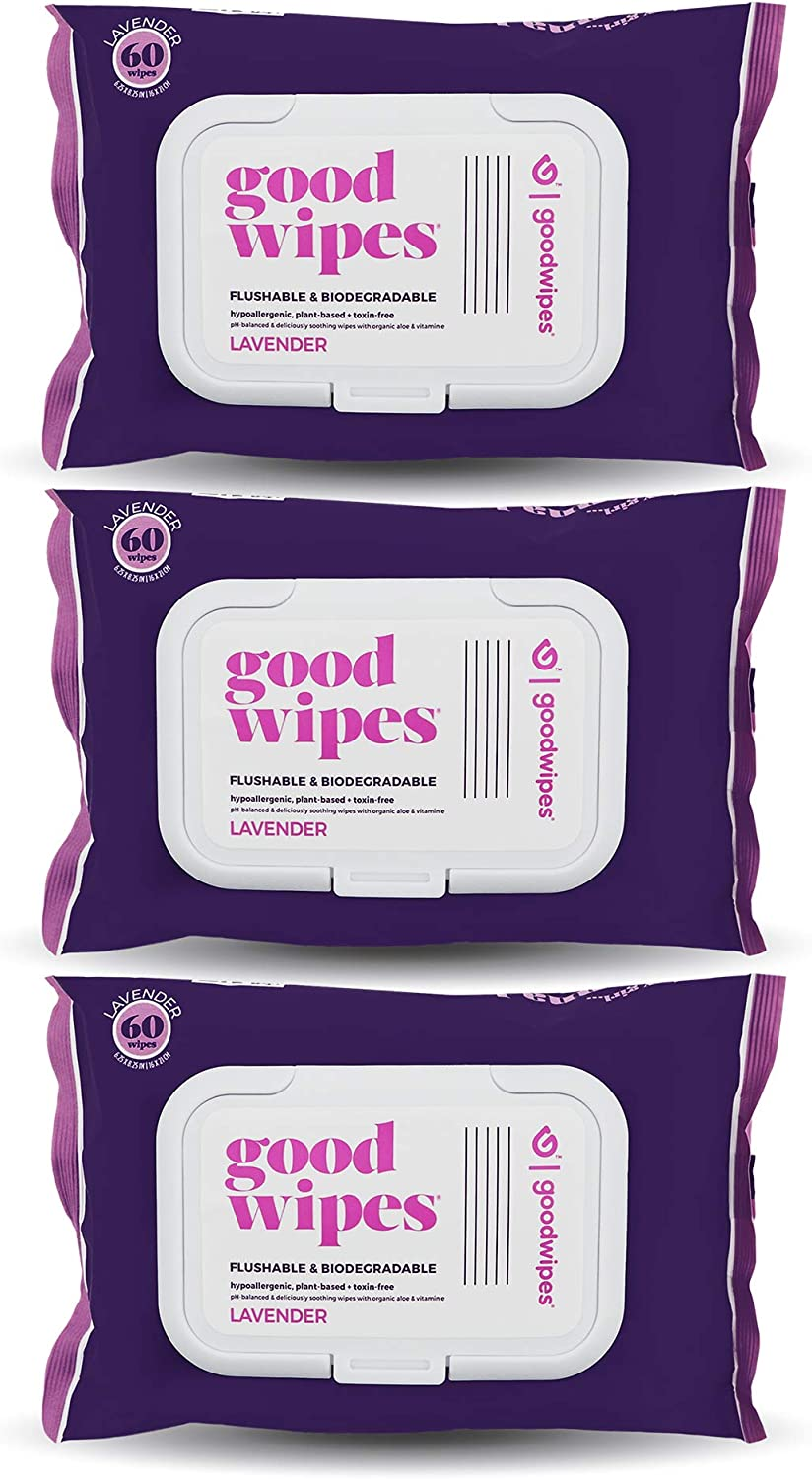 Goodwipes Wet Wipes, Lavender Scent, with Re-Sealable packaging, Flushable and PH Balanced 180 Count (3 Packs of 60): Beauty