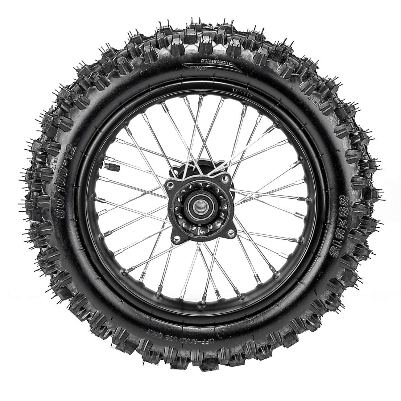 TDPRO 80//100-12 Rear Tire Disc Brake Rim With 15mm Bearing Set for Pit Pro Dirt Bike
