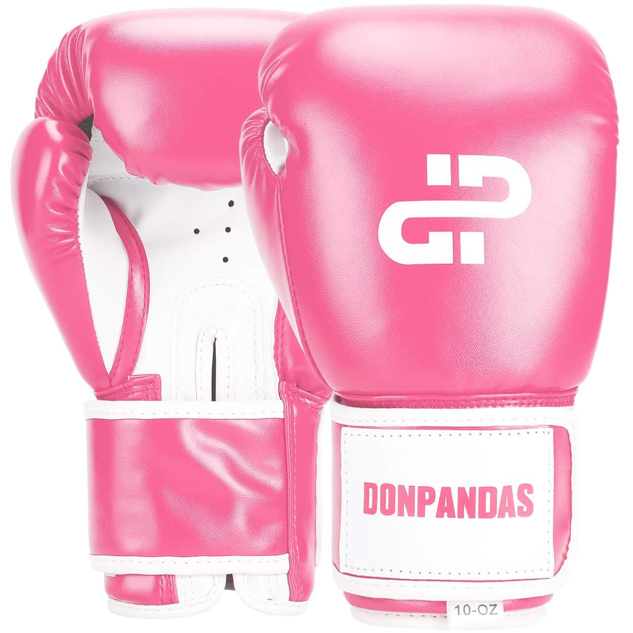 Donpandas ボクシンググローブ レディース&メンズ パンチングヘビーバッググローブ エッセンシャル ジェル ボクシング キックボクシング スパーリング ムエタイ トレーニンググローブ 10 oz ピンク