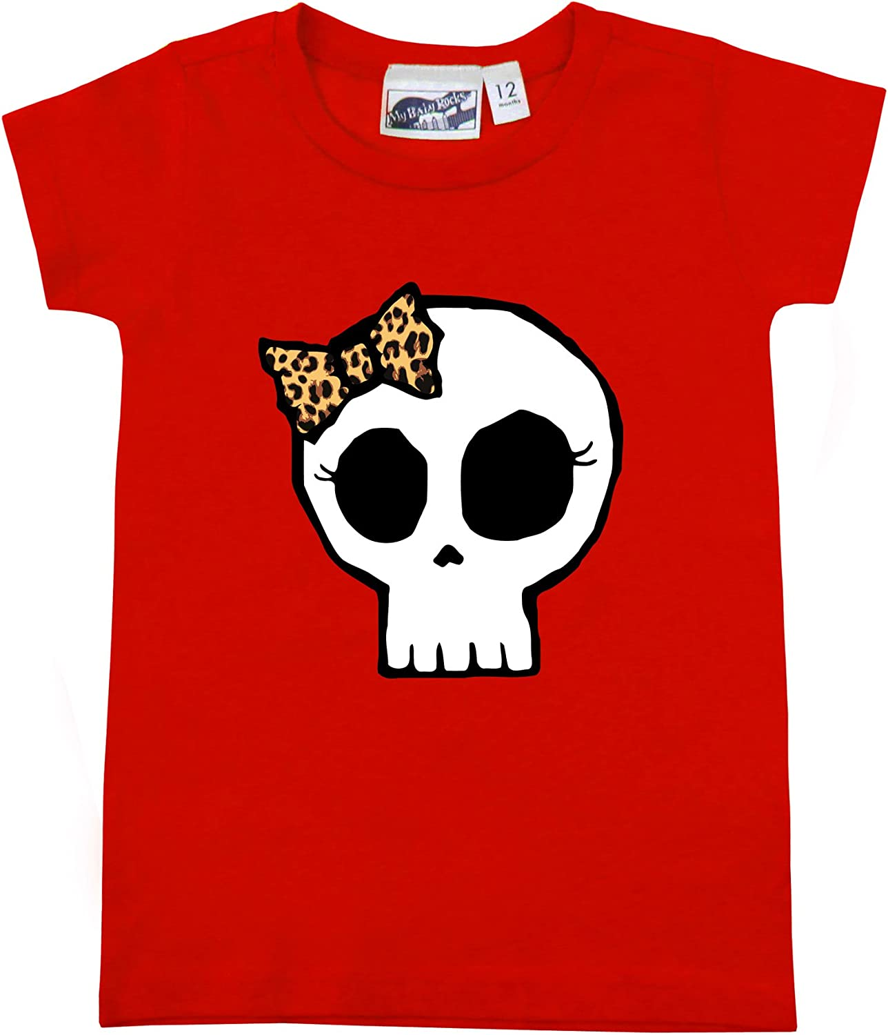 My Baby Rocks Leopard Bow Girly Skull Red Baby Toddler T-Shirt by