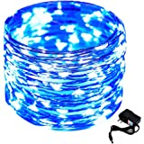 CrazyFire 33ft/10m Christmas String Light, 100 LED Copper Wire Light String DIY Home Decorative Light with DC Power Adapter for Festival Wedding Halloween Party Patio Garden-Blue Light