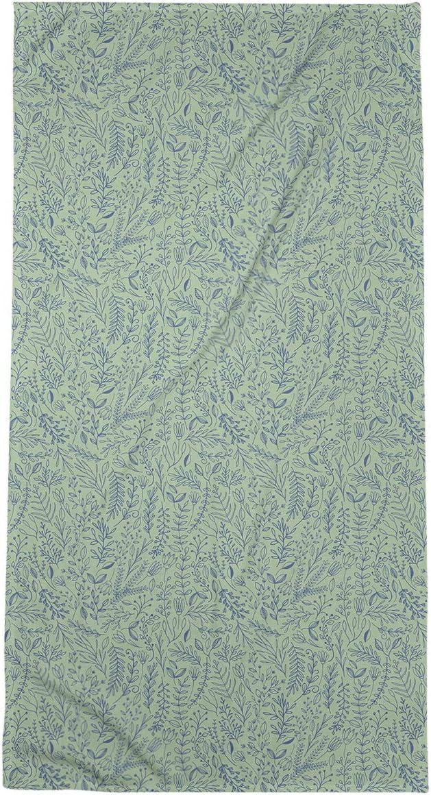 Amazon Com Artverse Katelyn Elizabeth Full Color Ditsy Floral Pattern Bath Towel Poly Cotton 30 X 60 Blue With Green Home Kitchen