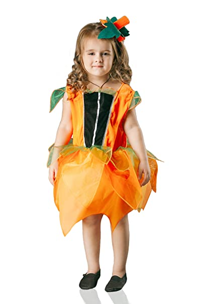kids girls pumpkin princess costume squash harvest festival halloween dress up 3 6 years