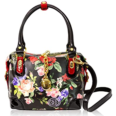 Image Unavailable. Image not available for. Color  Marino Orlandi Italian  Designer Roses Floral Printed Black Leather Boxy Crossbody Bag b9b411dee3747