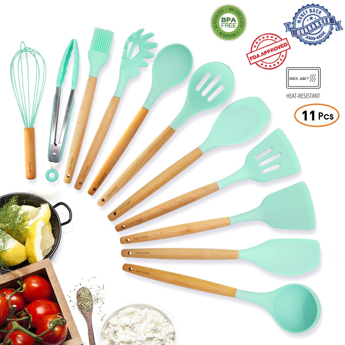 Kitchen Utensil Set Silicone Cooking Utensils, 11 Pieces Premium Natural Beech Wooden Handle Turner Spoon Ladle Gadgets Tool, BPA Free Pioneer Cookware Protect Gift for Woman Mom Family, Mint Green