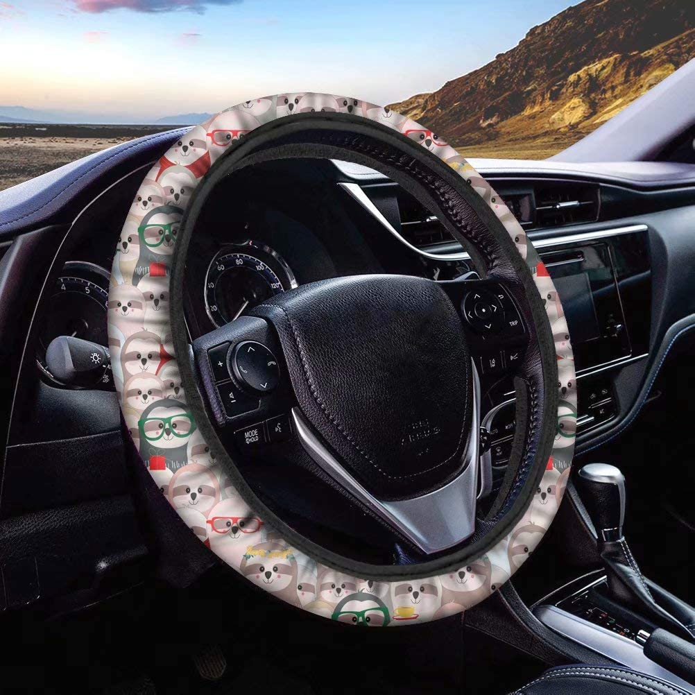 Black Sunflower Car Steering Wheel Cover for Women and Girls Fabric Cover Tupalatus Universal Steering Wheel Covers Car inner Accessories