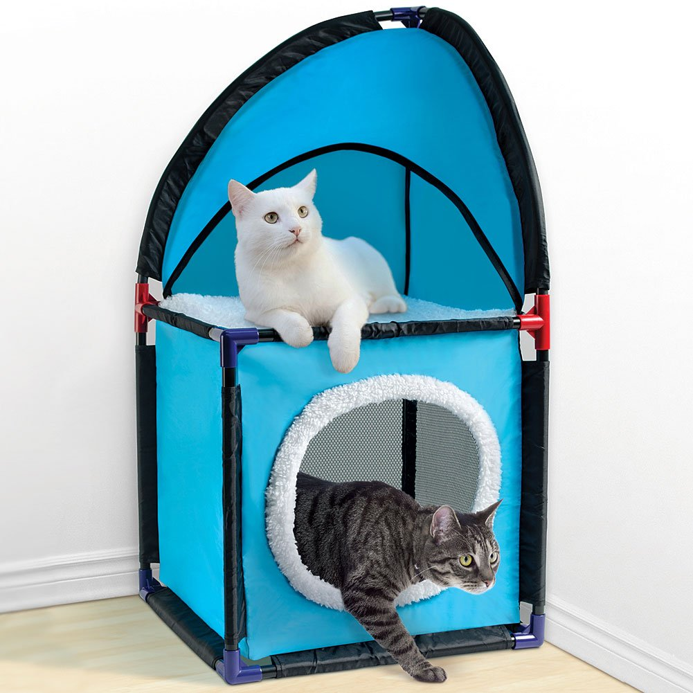 Two Tier, Durable, And Easy To Assemble Cat Corner Tower, bluee
