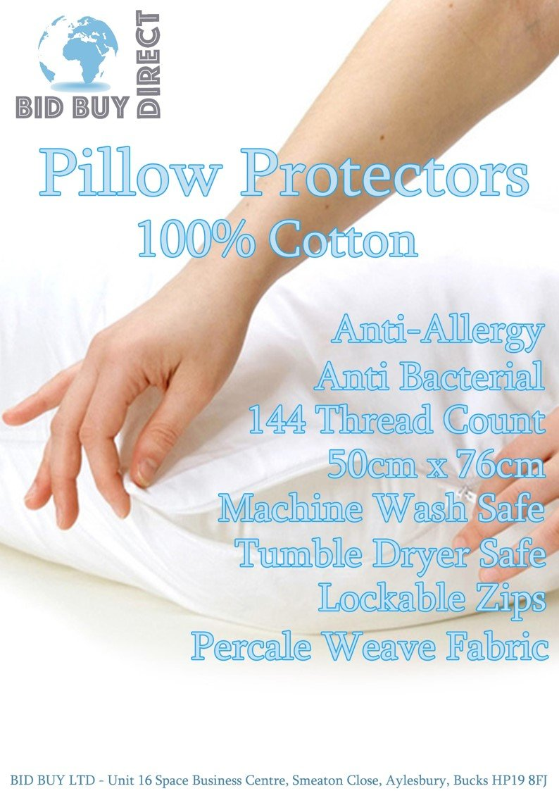 Bid Buy Direct® Pack of 4 Pillow Protectors - 100% Cotton | 144 Thread Count | Mildew Proof | Non Allergic | White Anti dust | Stain Resistant | Machine Washable | Standard Size