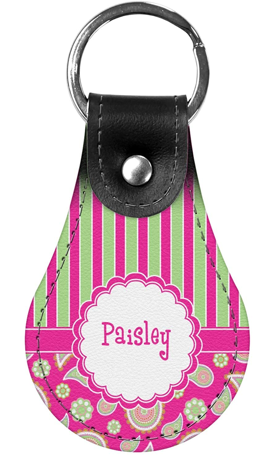 Pink /& Green Paisley and Stripes Genuine Leather Keychain Personalized