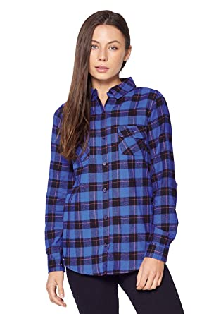 7a3cfca57508 Blue Age Womens Flannel Plaid Long Sleeve Shirts Blouse (CT0030_NP111_S)