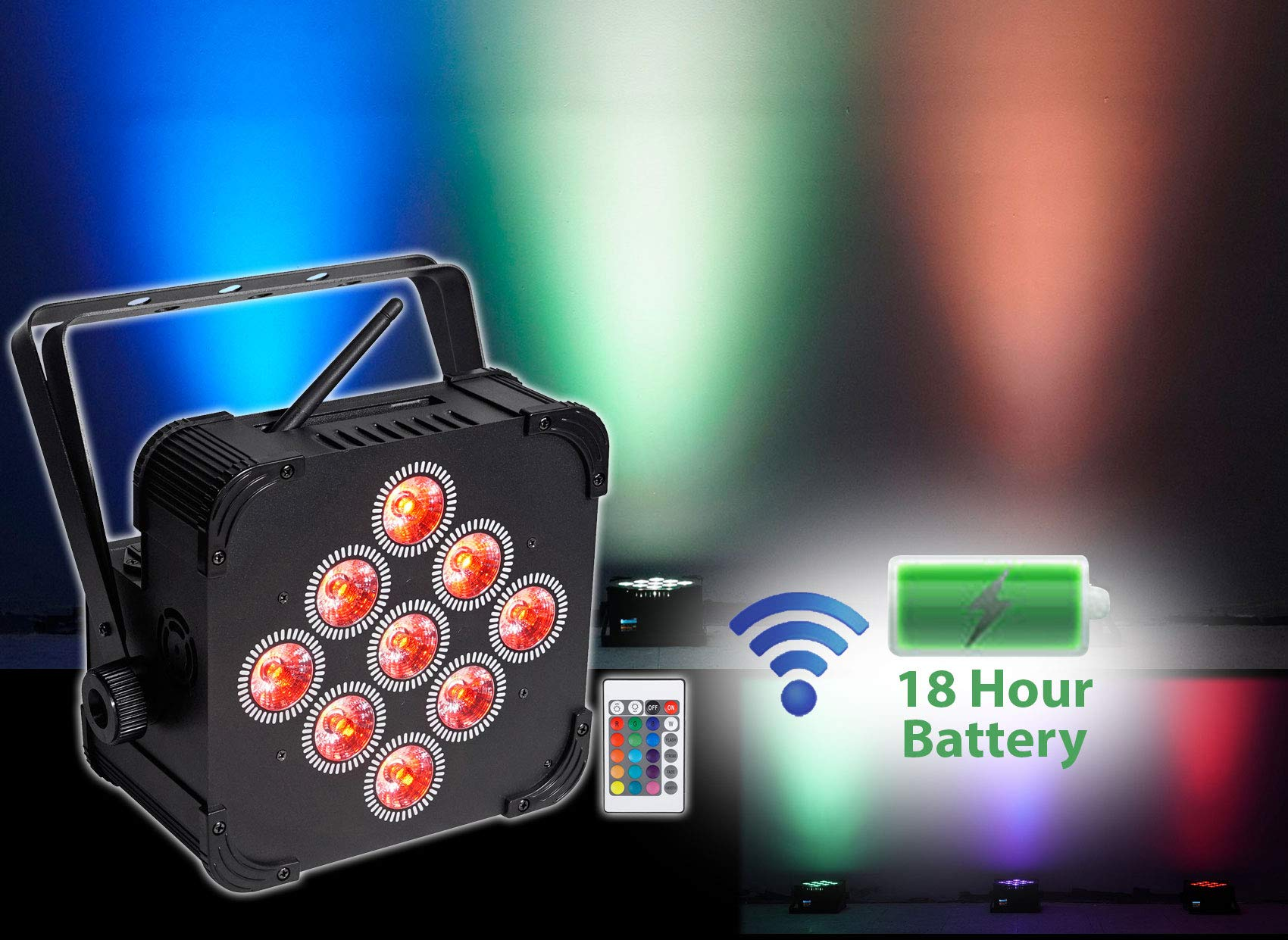 Rockville BEST PAR 60 RGBWA+UV Battery Powered Wash Light w/Wireless DMX+Remote by Rockville