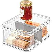 iDesign Crisp Plastic Refrigerator and Pantry Divided Bin, Modular Stacking Food Storage Box for Freezer, Fridge, Office…
