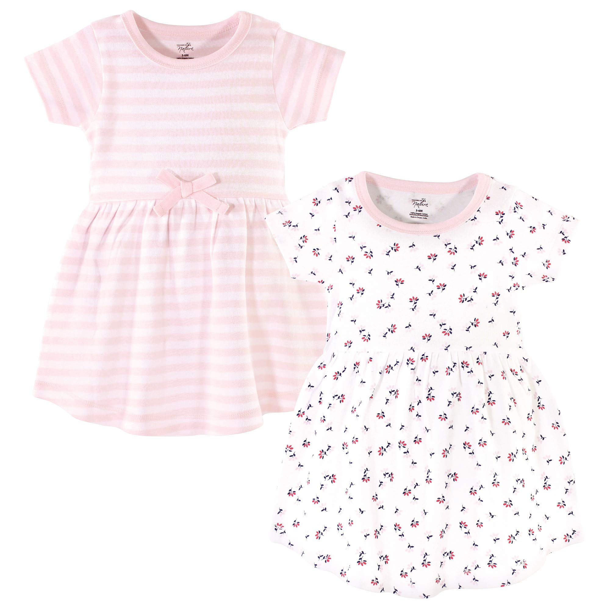 Touched by Nature Baby Girls Organic Cotton Dresses, Tiny Flowers Short Sleeve 2-Pack, 3-6 Months (6M) by Touched by Nature