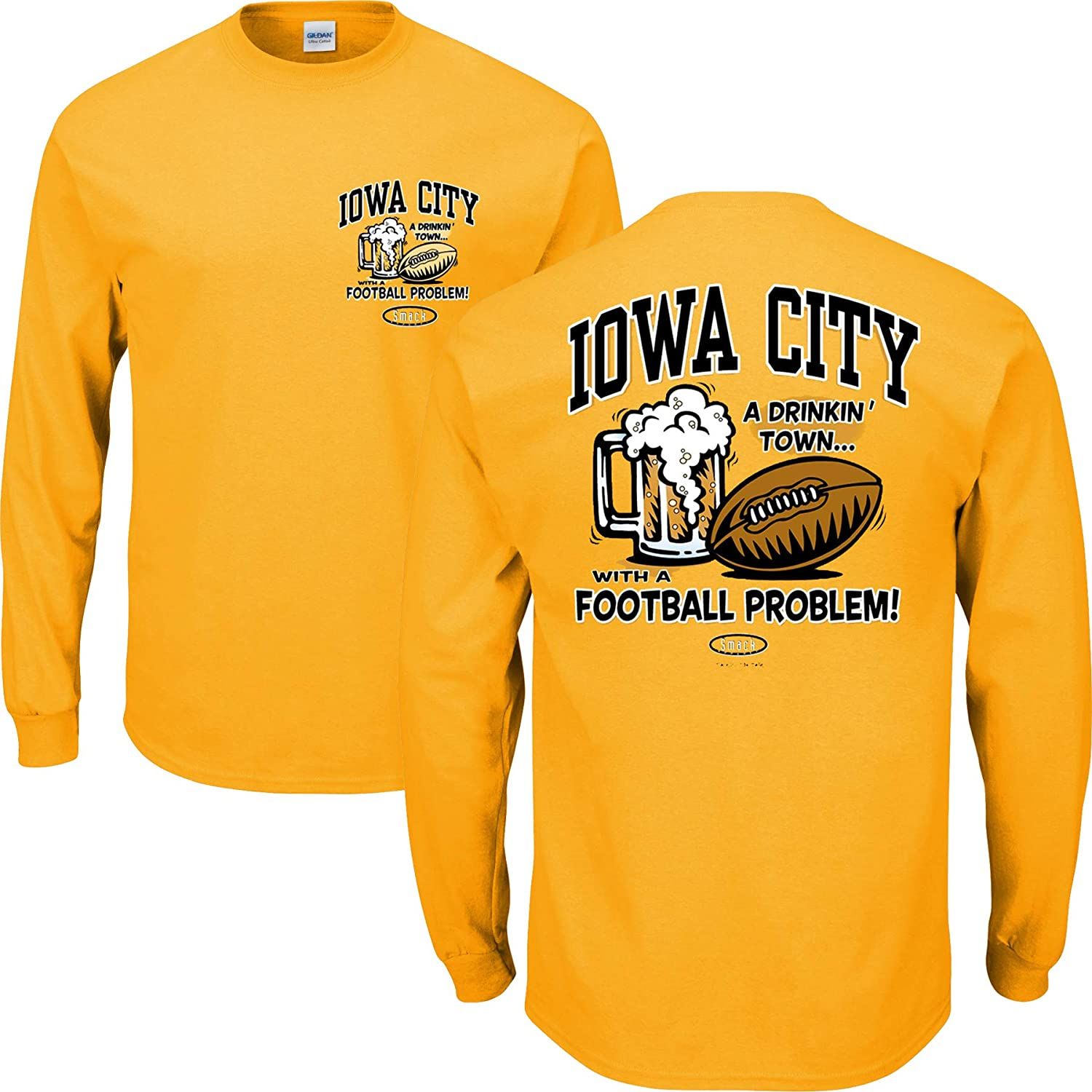 Smack Apparel Iowa Football Fans Iowa City Drinking Town Gold T Shirt Sm-5X