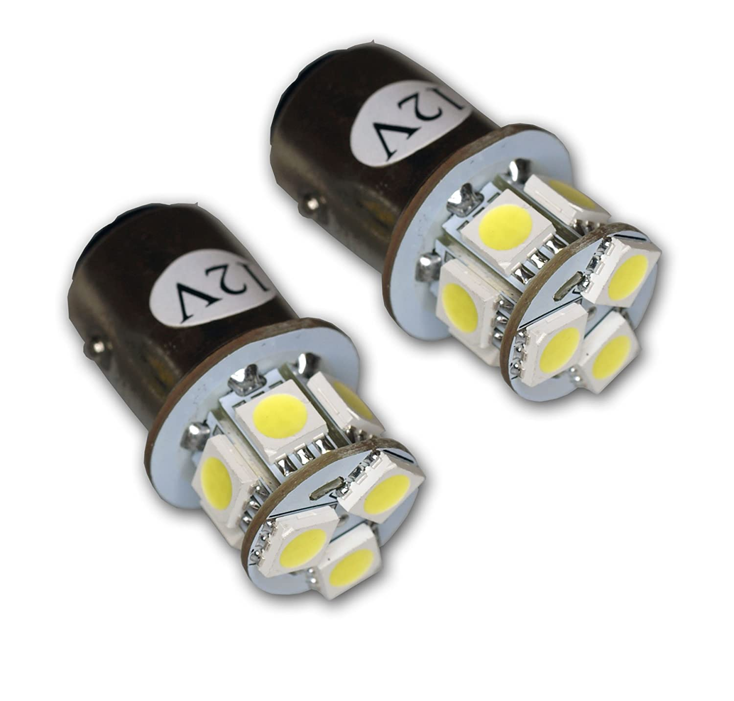 TuningPros LEDTL-1157-WS9 Tail Light LED Light Bulbs 1157, 9 SMD LED White 2-pc Set