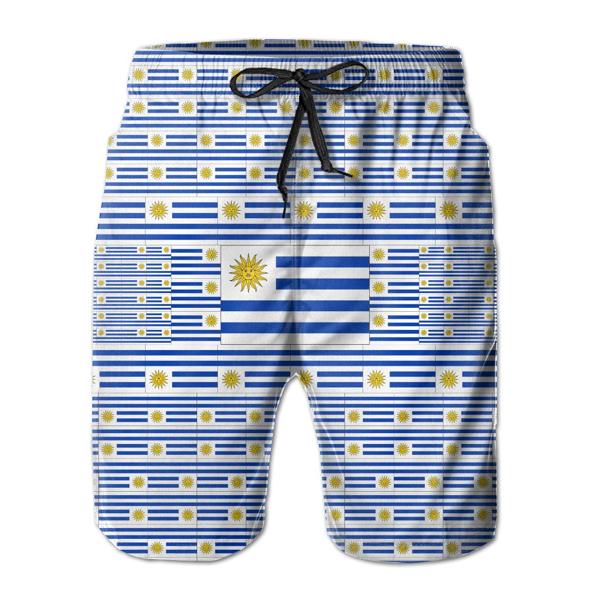 FASUWAVE Mens Swim Trunks Uruguay Flag Quick Dry Beach Board Shorts with Mesh Lining