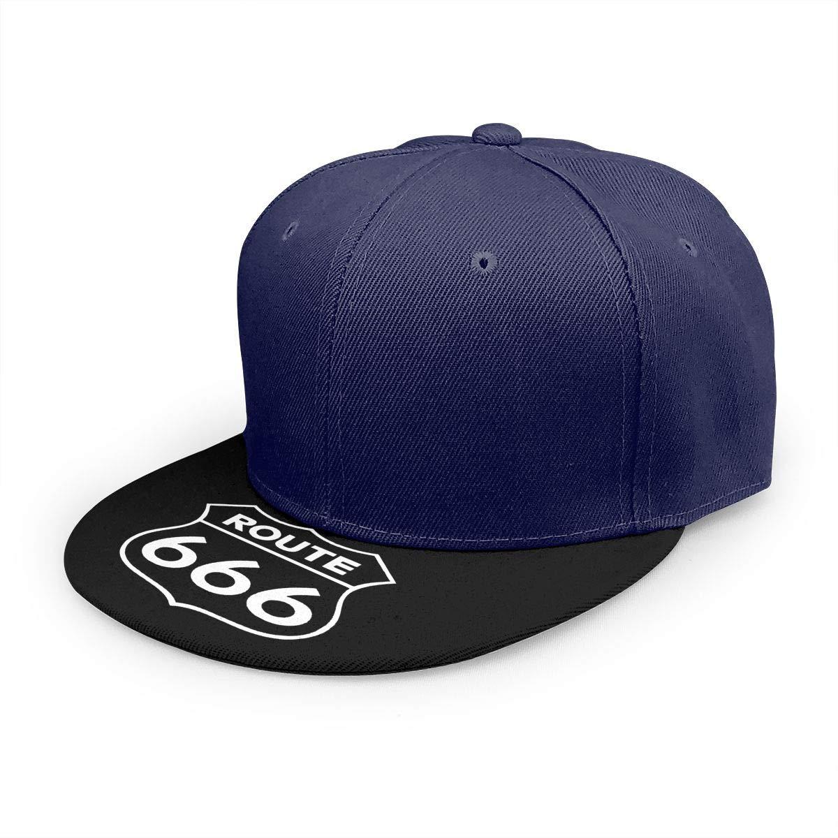 Adjustable Women Men Route 666 Print Baseball Cap Flat Brim Cap Hats Hip Hop Snapback Sun Hat Boys Girls Navy by Apolonia