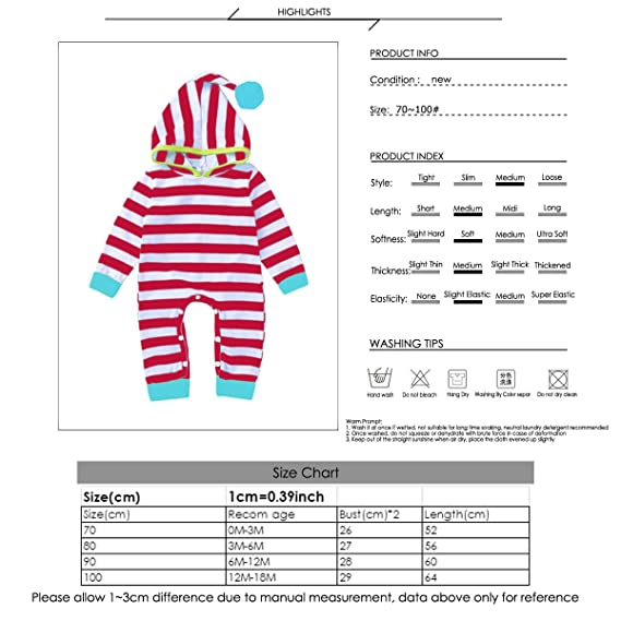 1c9d59e0343f Amazon.com  puseky Newborn Baby Boys Girls Hoodie Striped Romper Jumpsuit  Bodysuit One-Piece  Clothing