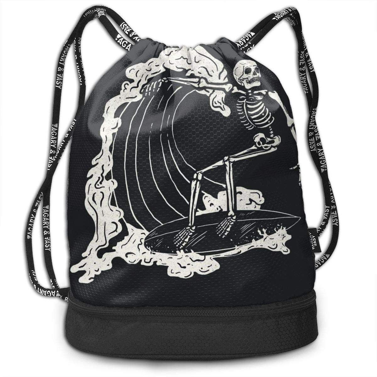 Drawstring Backpack Skeleton Surf Art Bags Knapsack For Hiking