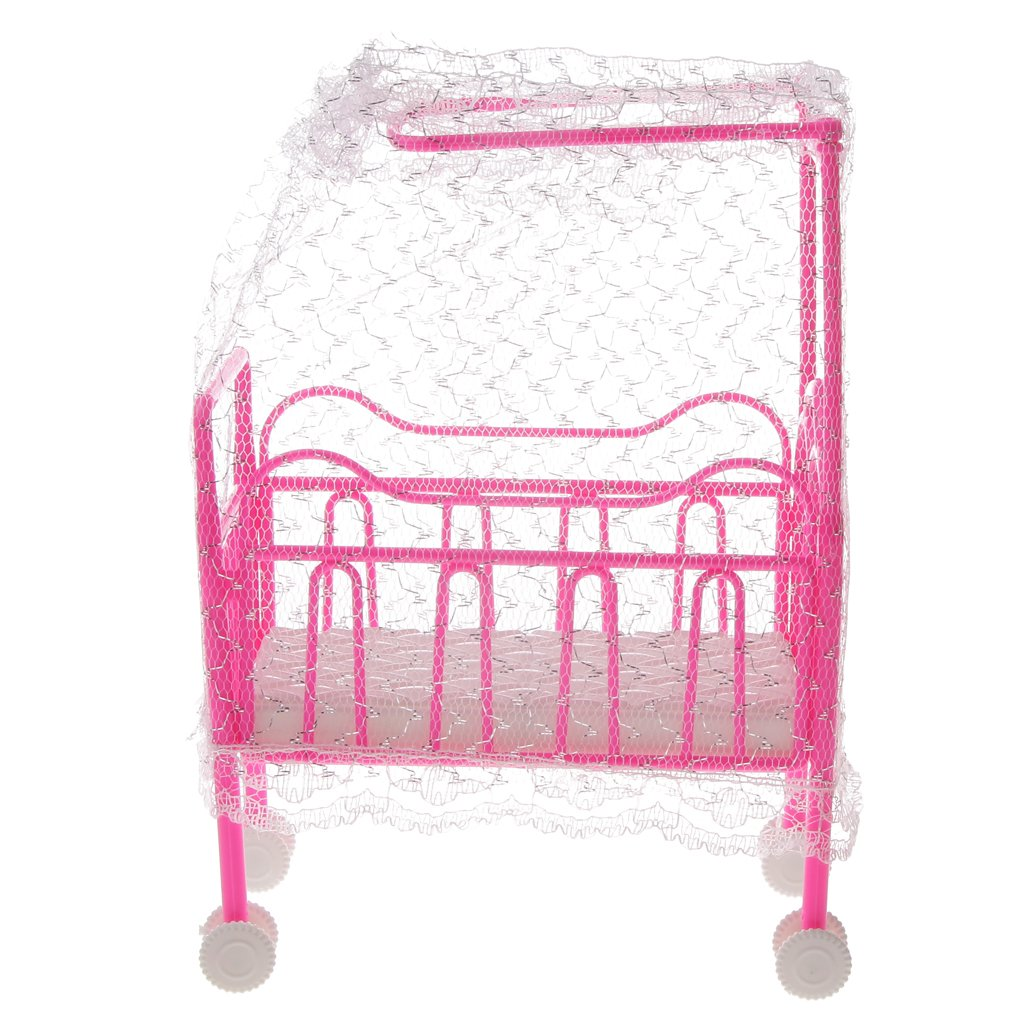 Prettyia Plastic Cot Bed w/ Bed Net Dolls House Furniture for Barbie Doll Dollhouse Decor