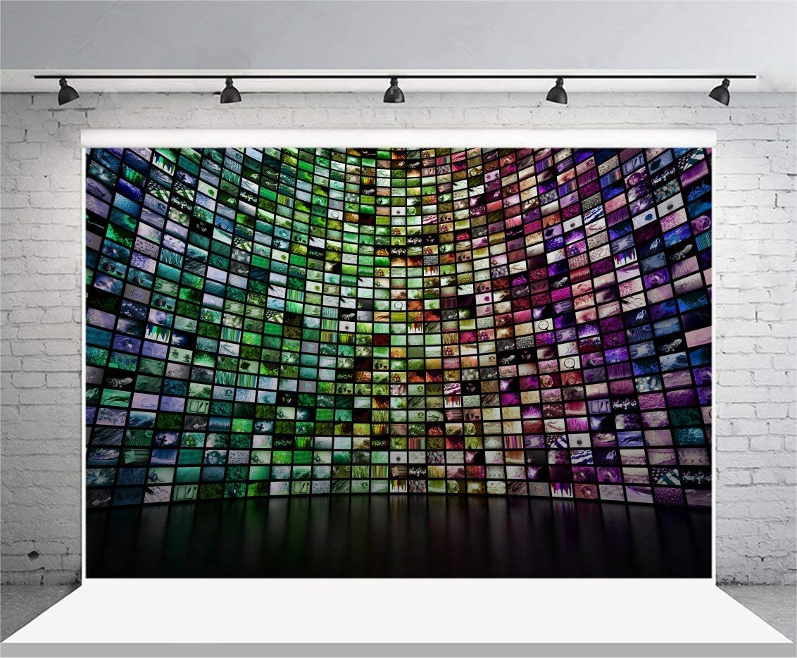 10x6.5ft Polyester Backdrop Photography Background Abstract Giant Multimedia Video and Image Wall Colorful Mosaic Seamless Texture Grunge Background Show Party Interview Video Record Shooting
