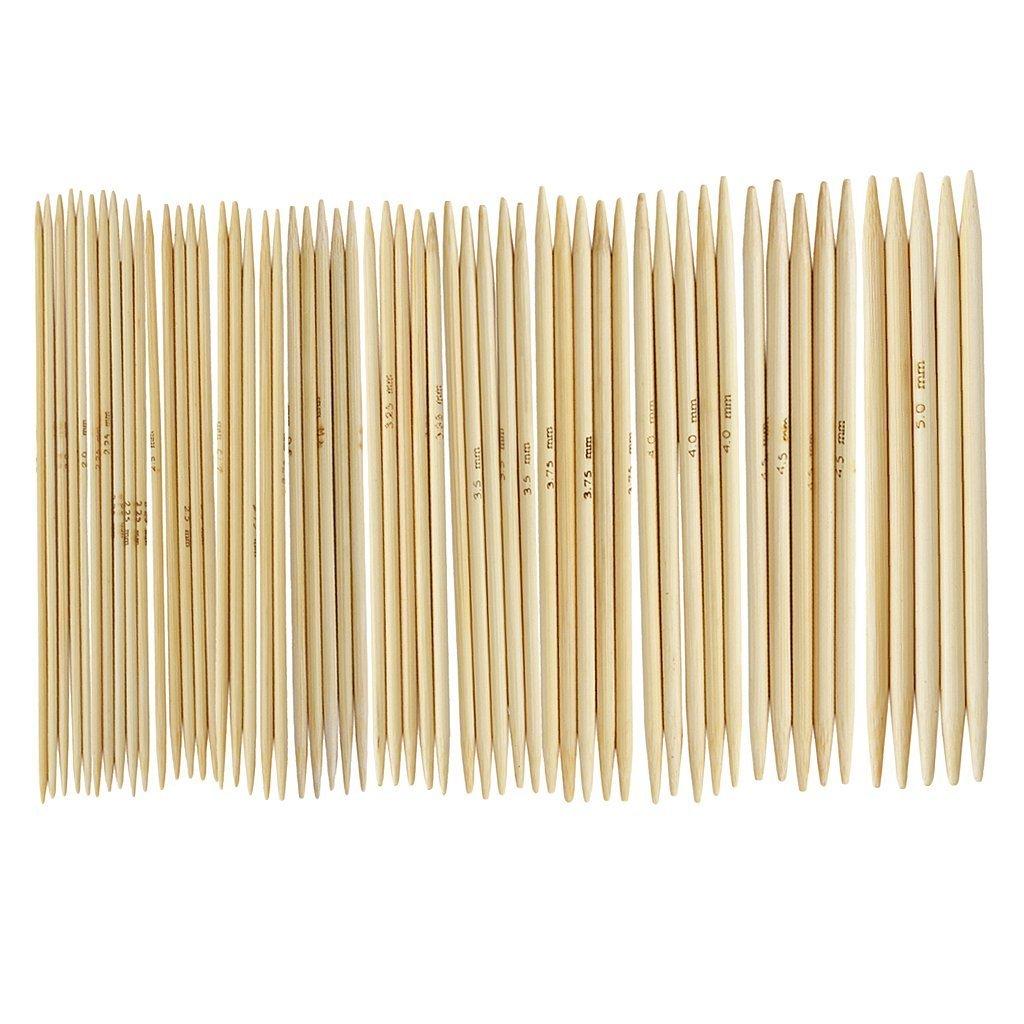 Romote 5pcs 11 x 4.9 doppia punta di bambù ferri da calza a 2.0-5.0mm