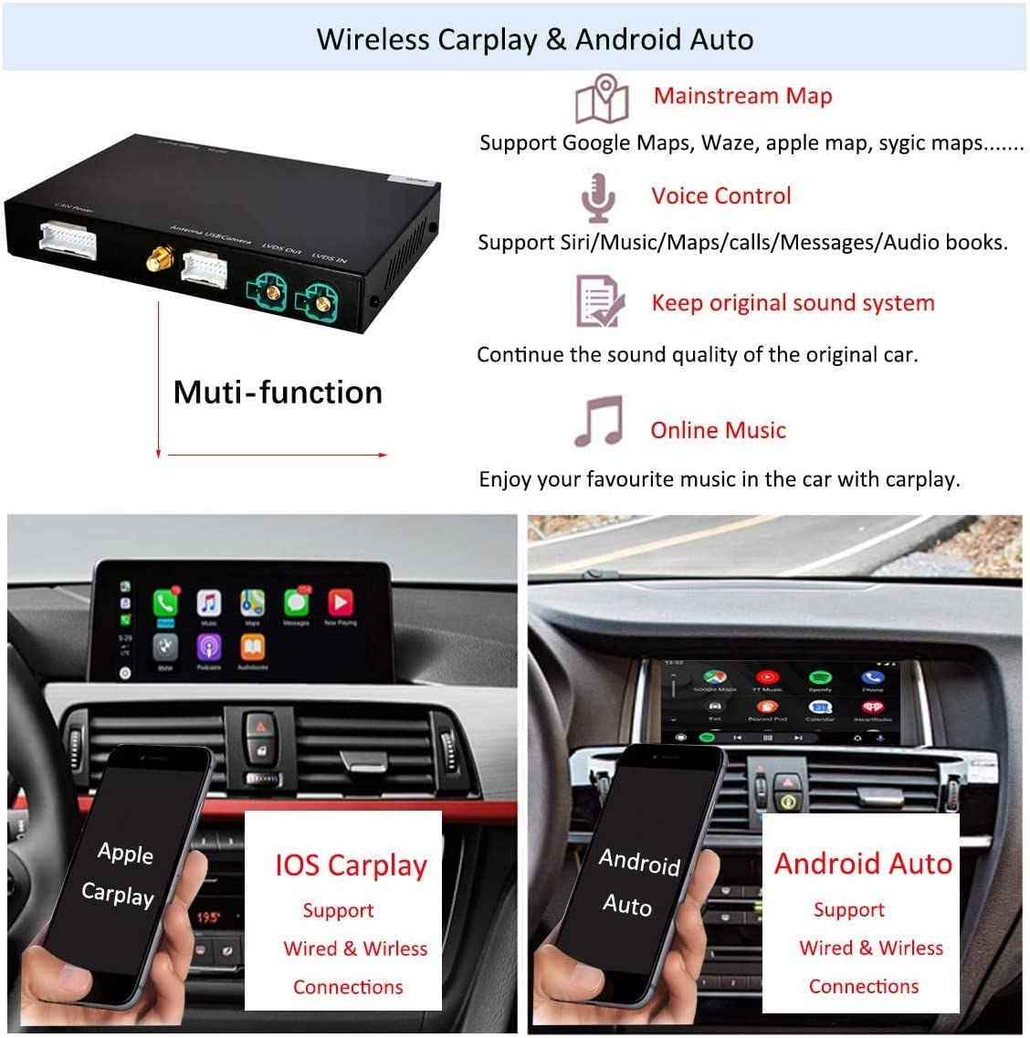 Wireless CarPlay Android Auto for BMW i3 I01 NBT System 2012-2017 with MirrorLink Autolink Airplay Function