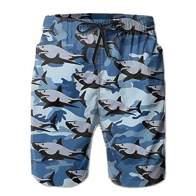 Men's Blue Camo Shark Quick Dry Summer Beach Surfing Board Shorts Swim Trunks Cargo Shorts