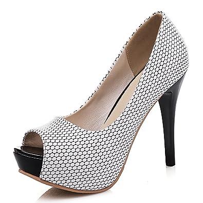 ae75371aef MAIERNISI JESSI Women's Peep Toe Shiny Stiletto High Heel Platform Dress  Party Pumps Black 34 -