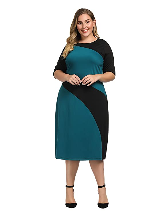 49ea4aff40f Chicwe Women s Plus Size Stylish Contrast Ponte Dress 1X-4X  Amazon.ca   Clothing   Accessories