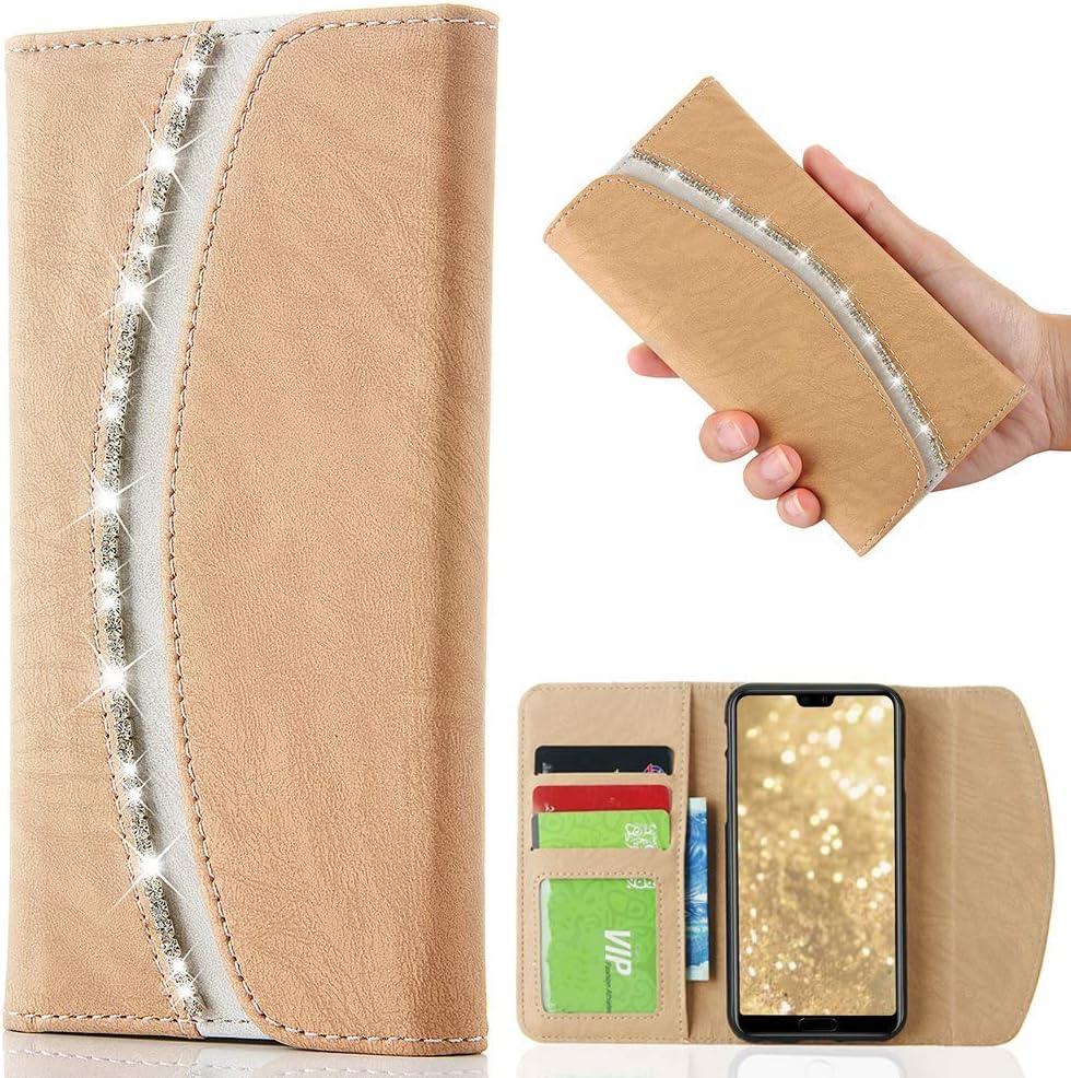 LCHULLE per Huawei P10 Borsetta Custodia-Lusso Bling Luccichio Cristallo Diamante Strass Flip PU Leather Custodia Stylish Magnetic Portafoglio Silicone Copertina P10 Pocket Purse-Rose Gold
