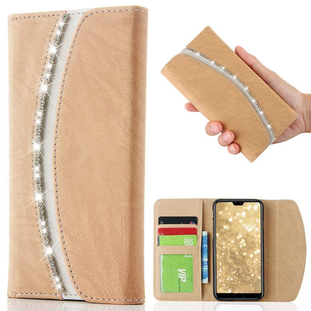 LCHULLE per Huawei P9 Lite Borsetta Custodia Bling Luccichio Cristallo Diamante Strass Flip PU Leather Custodia Stylish Magnetic Portafoglio Silicone Copertina P9 Lite Pocket Purse-Gold