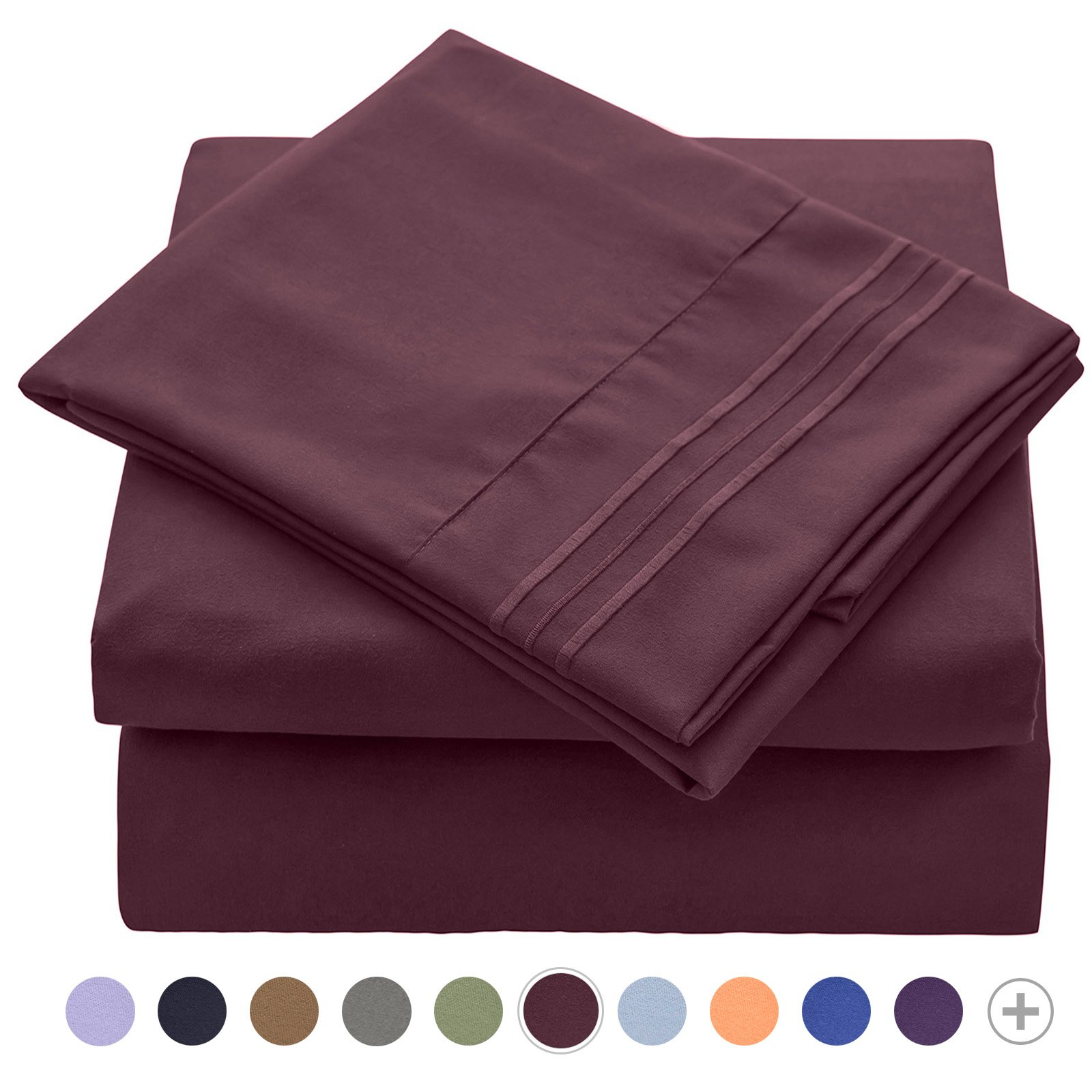 VEEYOO Bed Sheet Set Queen - 1800 Thread Count Microfiber Queen Size Sheet Sets - Wrinkle, Stain, Fade Resistant Hypoallergenic Pillowcase Sheet Set with Deep Pocket, Luxury Hotel Bedding Set Burgundy
