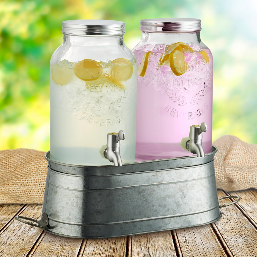 Masonware Farmhouse Beverage Dispensers with Stand Gift Box (Set of 2)