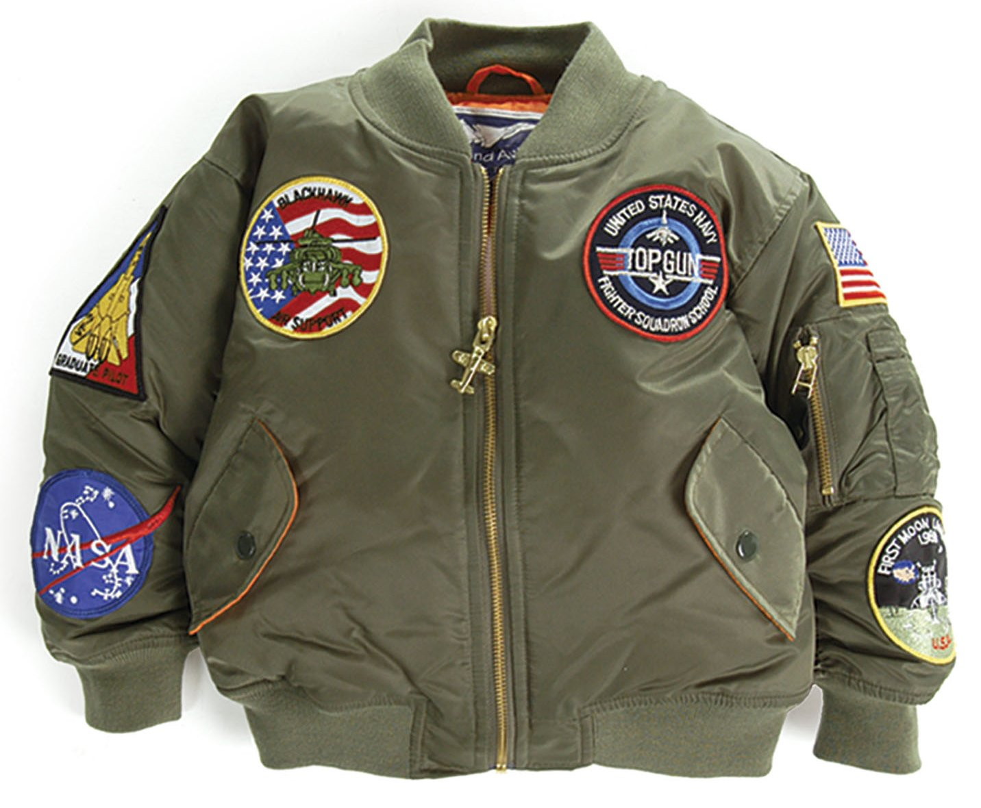 Up and Away Boys' MA-1 Flight Jacket 18 Months Green by Up and Away