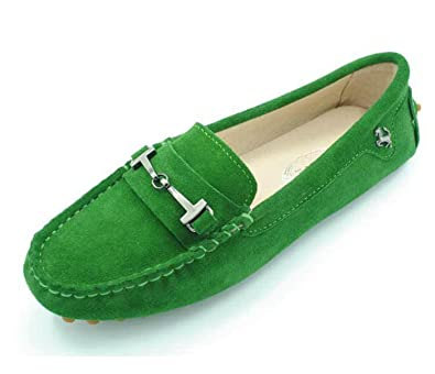 dcd55af7254 MINITOO Girls Ladies Comfortable Slip-on Green Suede Leather Driving Shoes  Loafers Moccasin UK 5.5  Amazon.co.uk  Shoes   Bags