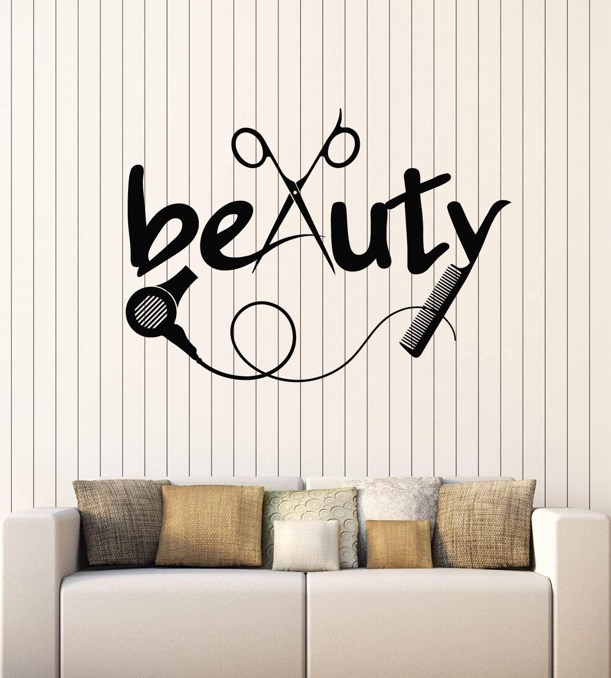 Vinyl Wall Decal Barber Tools Hair Hairdresser Beauty Salon Stickers Mural Large Decor (g2326) Black