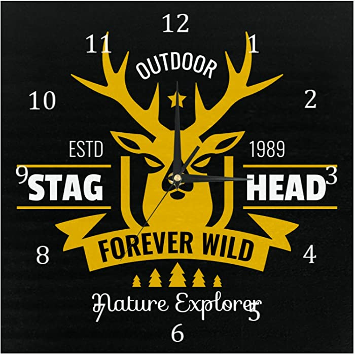 AISSO Wall Clocks Stag Head Deer Skull Black Background Battery Operated Number Clock for Bedroom Living Kitchen Office Home Decor Silent & Non-Ticking