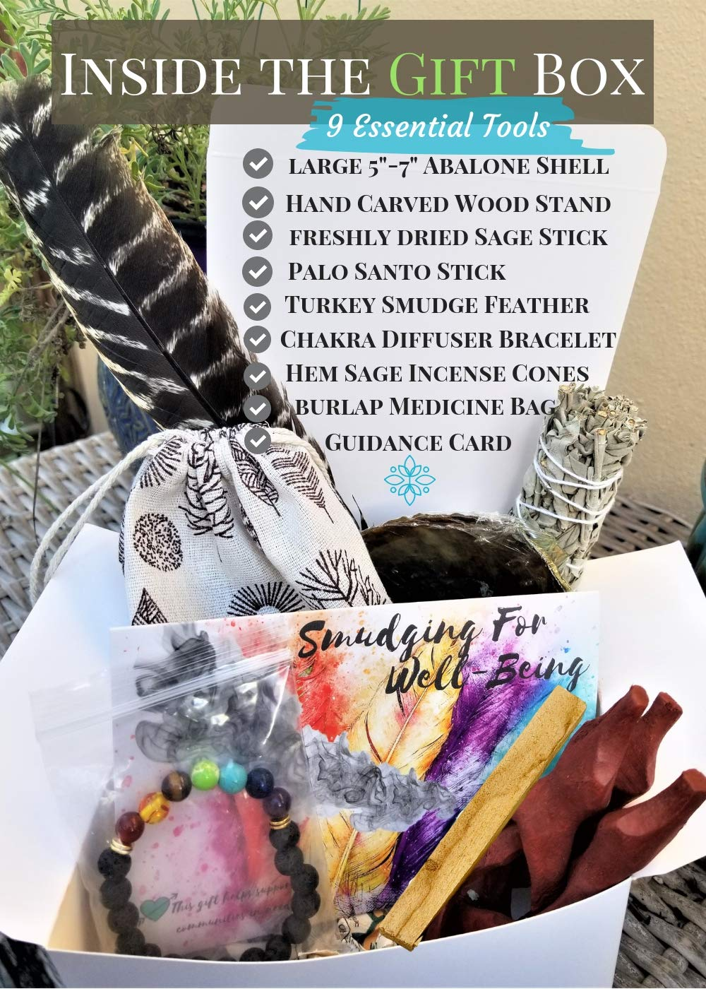 Smudge Kit Spiritual Set - Large Abalone Shell, Wood Stand, White Sage Smudging Stick, Sage Incense Cones, Smudging Feather, 7 Stone Chakra Bracelet