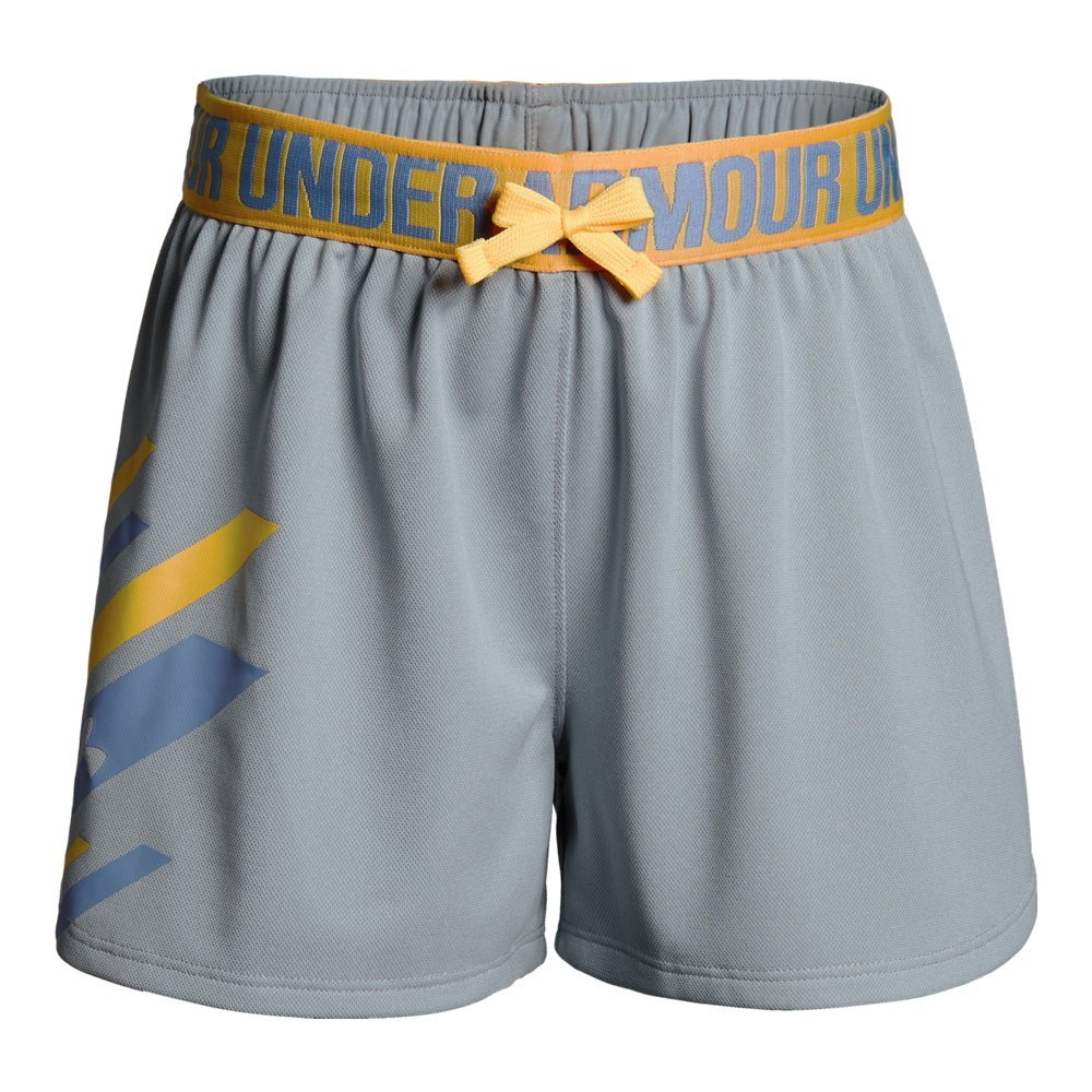 Under Armour Girls' Play Up Graphic Short, Overcast Gray Light /Talc Blue, Youth Large