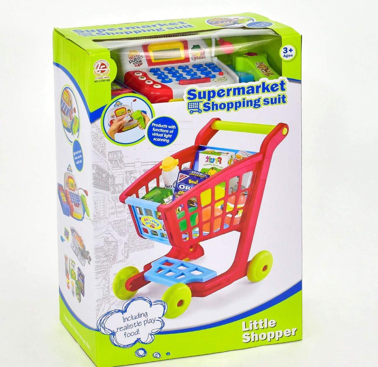 LI PENG TOYS Supermarket Shopping Suit Cash Register Shopping Cart & Groceries Pretend Play +3