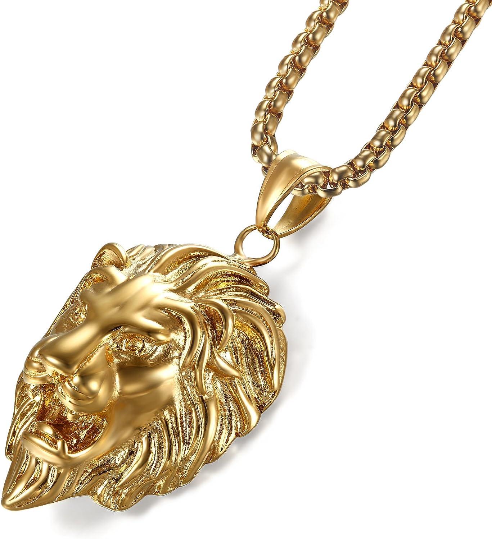 Männer stilvolle Löwe Tier Hip Hop Halskette Anhänger Schmuck LiebhaberGeschenke