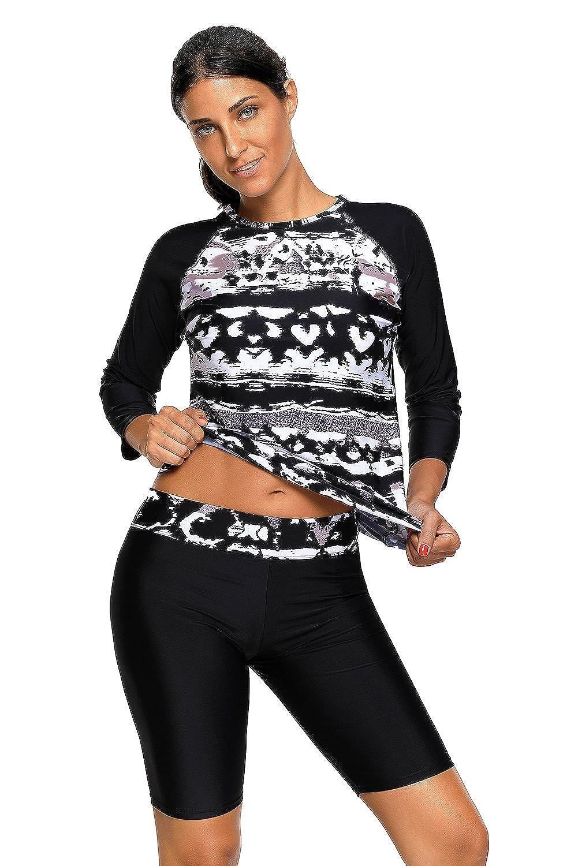 Women's swimsuit black long sleeve rashguard two piece swimwear tankini sets