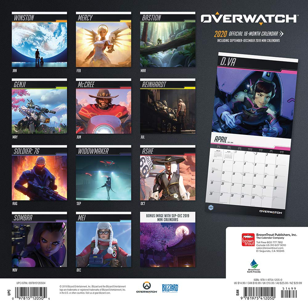 Overwatch Event Calendar 2021 Amazon.com: Overwatch 2020 12 x 12 Inch Monthly Square Wall