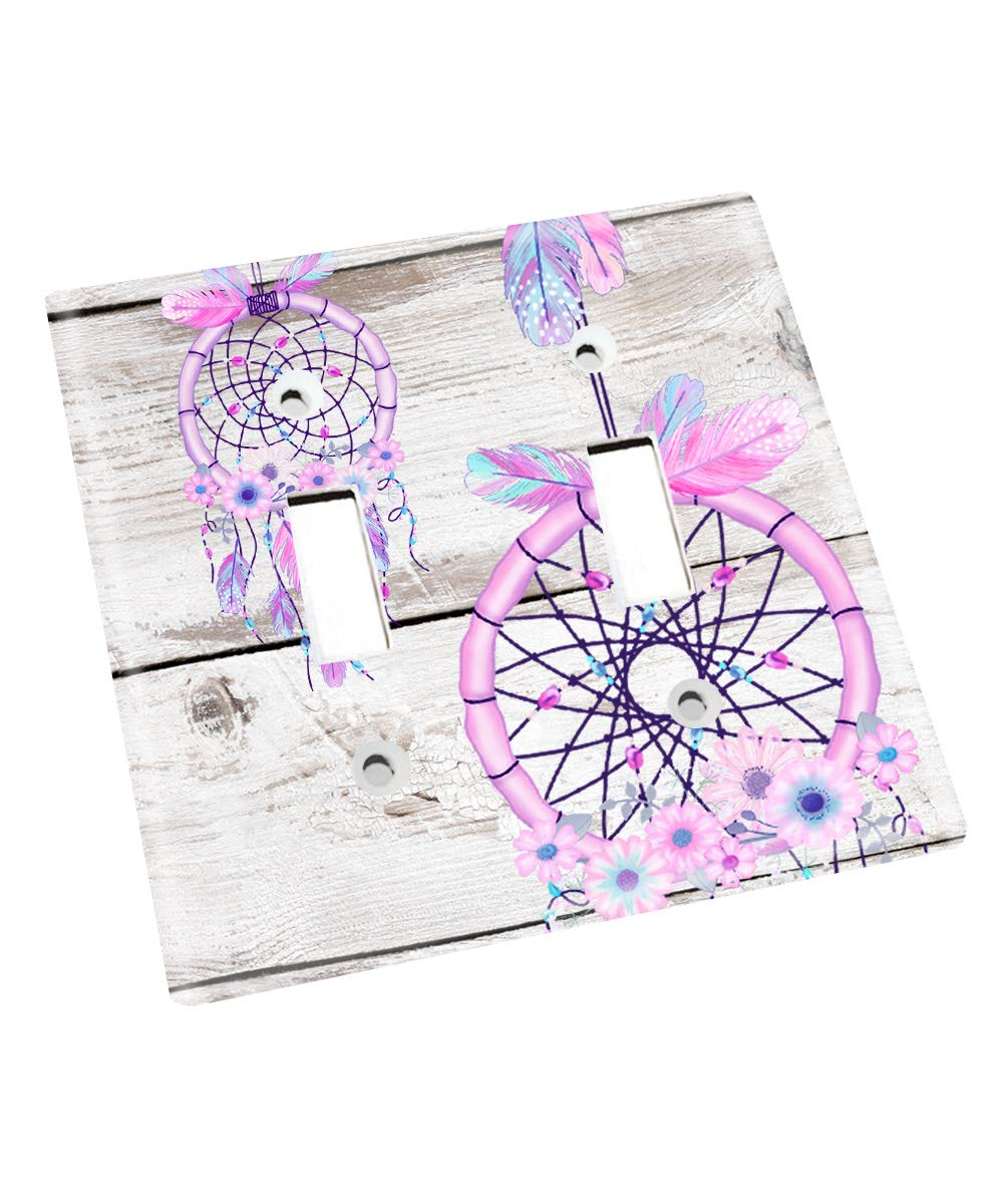 Purple and Blue Dream Catcher Nursery Bedroom Light Switch Cover LS0126 (Double Standard) by Toad and Lily