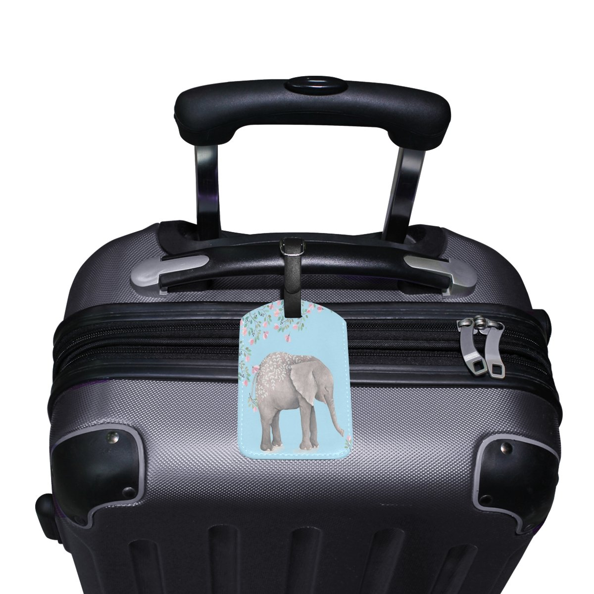 Saobao Travel Luggage Tag Elephant And Flowers PU Leather Baggage Suitcase Travel ID Bag Tag 1Pcs