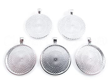 Amazon 20 cleverdelights round pendant trays shimmering 20 cleverdelights round pendant trays shimmering silver color 25mm 1 diameter pendant blanks mozeypictures Choice Image