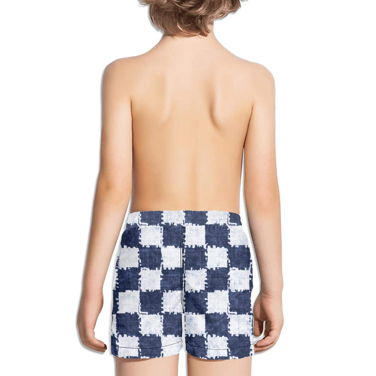 Checkerboard Squares Mottled Shades Indigo White Active Fully Lined Side Split Swim Shorts