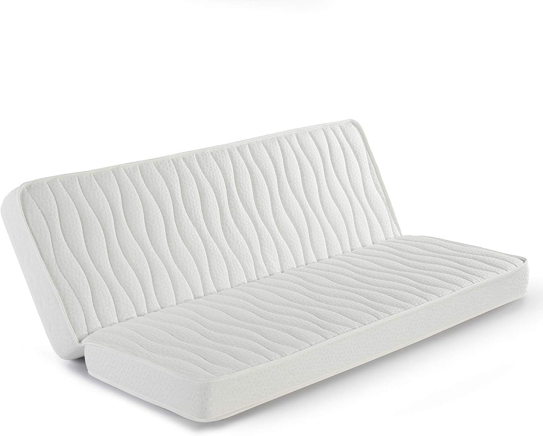 marckonfort Colchón Clic clac 130x190 para Sofa Cama, 13 cm de Altura, Tela Strech con Ribete de Seguridad