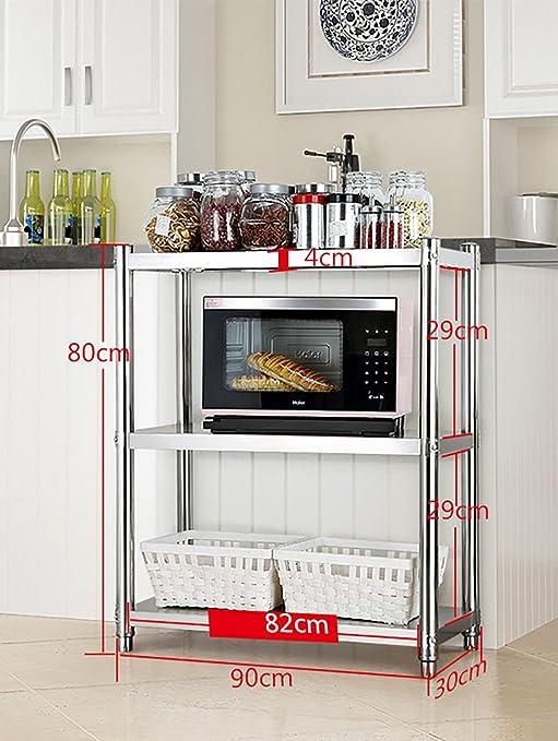 Cocina Estante Piso Horno Microondas Estante 3 unids Batería ...